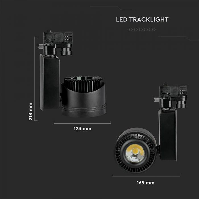45W Led COB Track Light Cri>95 Black Body