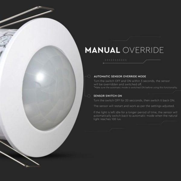 PIR Ceiling Sensor Recessed White 360 degree