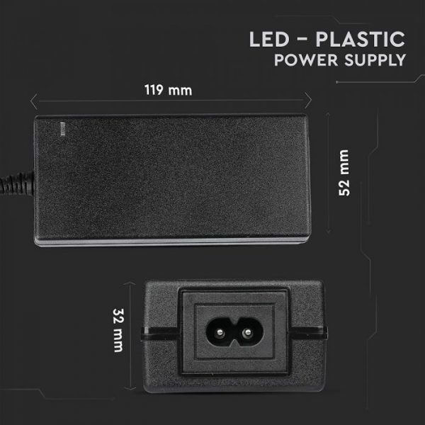 LED Power Supply  - 60W 12V 5A Plastic - EU Plug