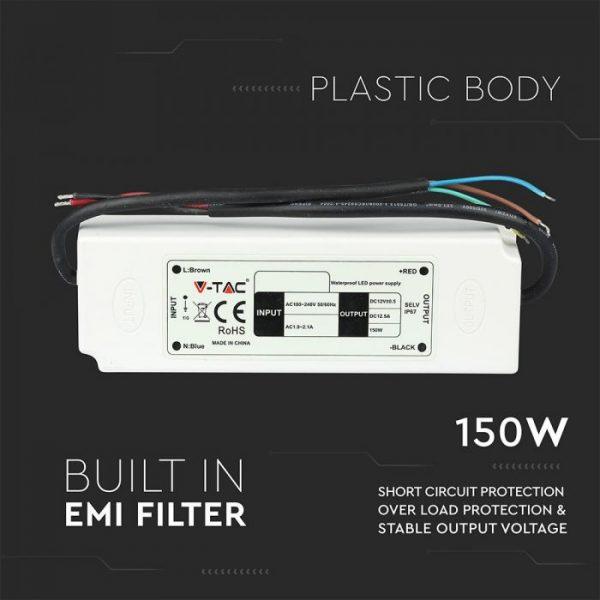 150W LED Waterproof Power Supply - 12V - 5A - IP67 Plastic
