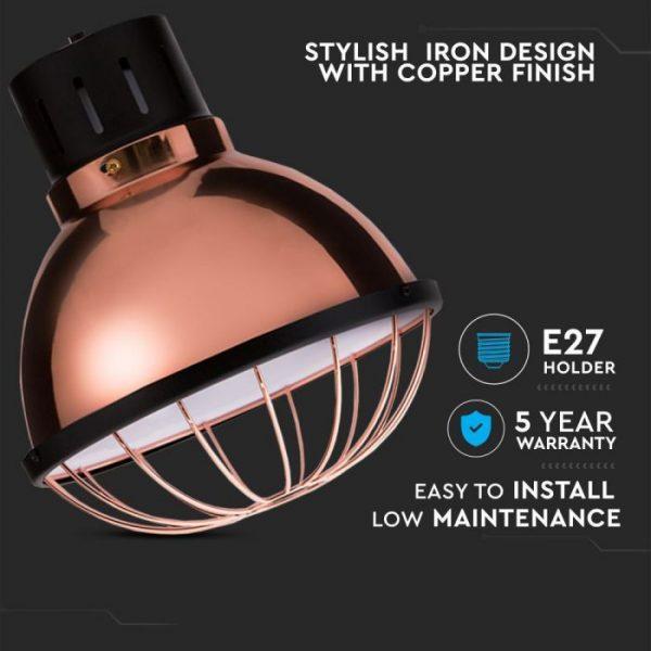 Rose Gold Pendant Light Holder D=250 Smooth Surface