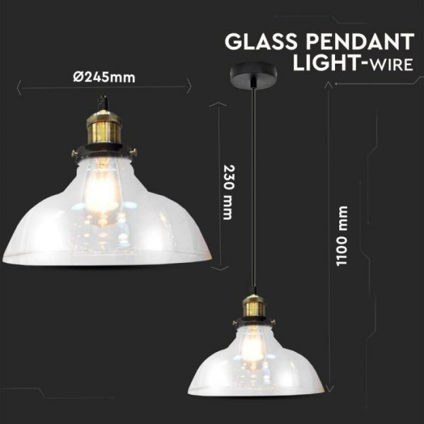 Glass Pendant Light Clear Glass D=245