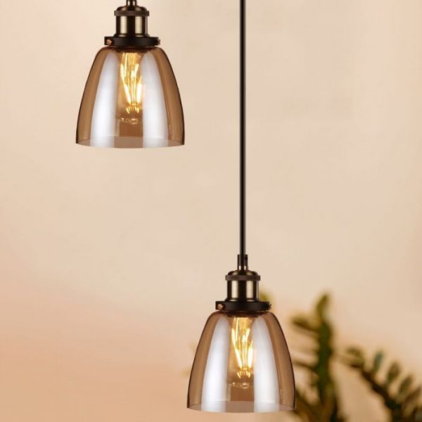 Vintage Glass Pendant Light Amber D=140