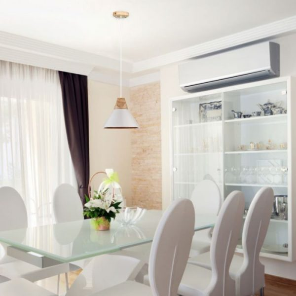 Aluminium Pendant Light with Wooden Top White/Black E27