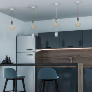 Chrome Metal Cup Pendant Light Blue