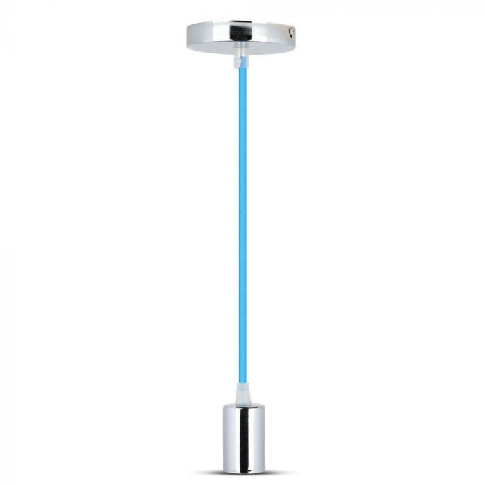 Chrome Metal Cup Pendant Light Blue