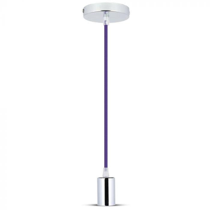 Chrome Metal Cup Pendant Light Purple