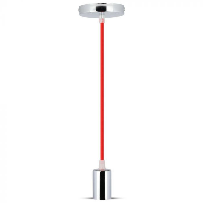 Chrome Metal Cup Pendant Light Red