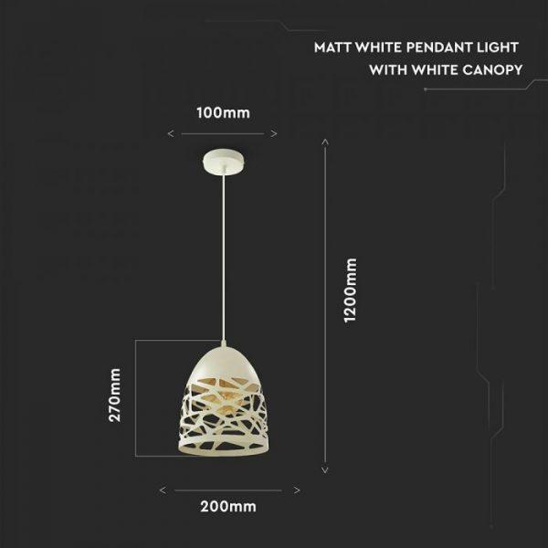 Pendant Light Matt White 200x270mm Canopy