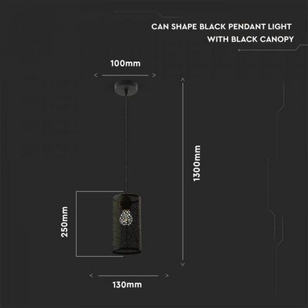 Pendant Light Matt Black With Black Canopy