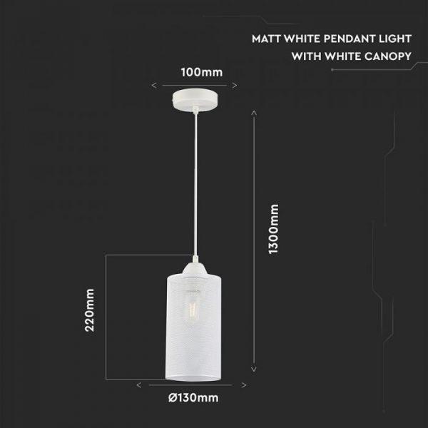Pendant Light Matt White With White Canopy
