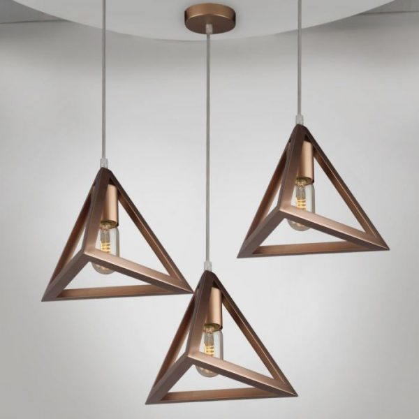 Pendant Triangular Prism Light Geometric Series With Gold Canopy