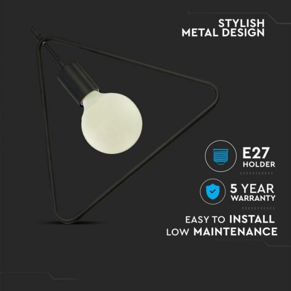 Pendant Light Triangle Matt Black Canopy