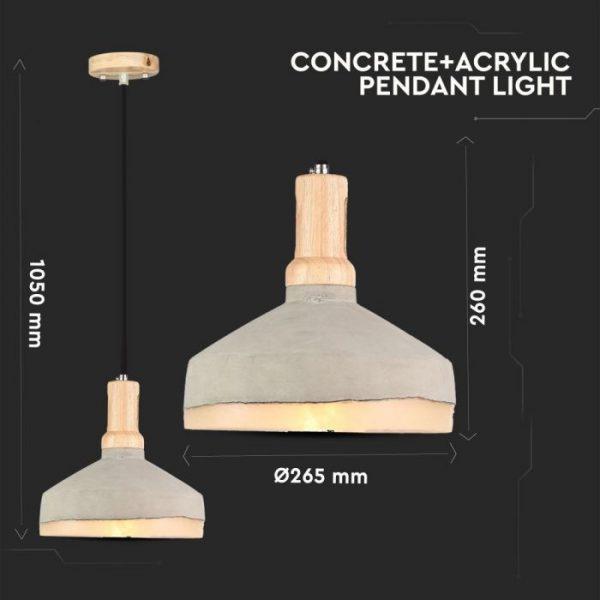 Pendant Light Concrete Acrylic  D=290mm