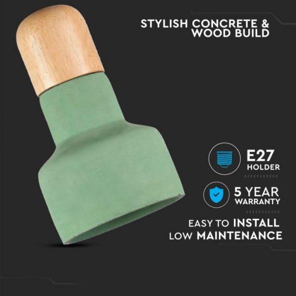 Pendant Light Concrete Wood  Green D=125mm