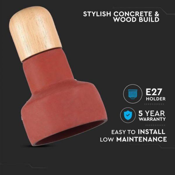 Pendant Light Concrete Wood  Red D=125mm