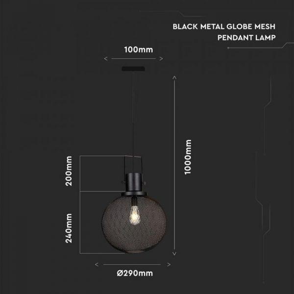 Pendant Light Black Metal Globe  D=300mm
