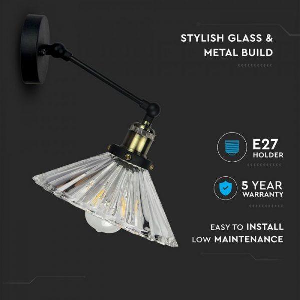 Wall Lamp W/V Shape Glass  D=180mm