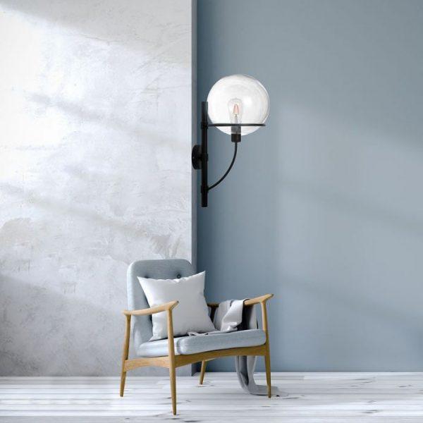 Wall Lamp Globe Glass Transparent D=210mm