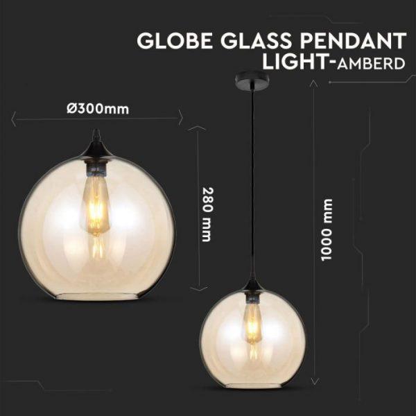 Pendant Light Globe Glass Amber  D=300mm