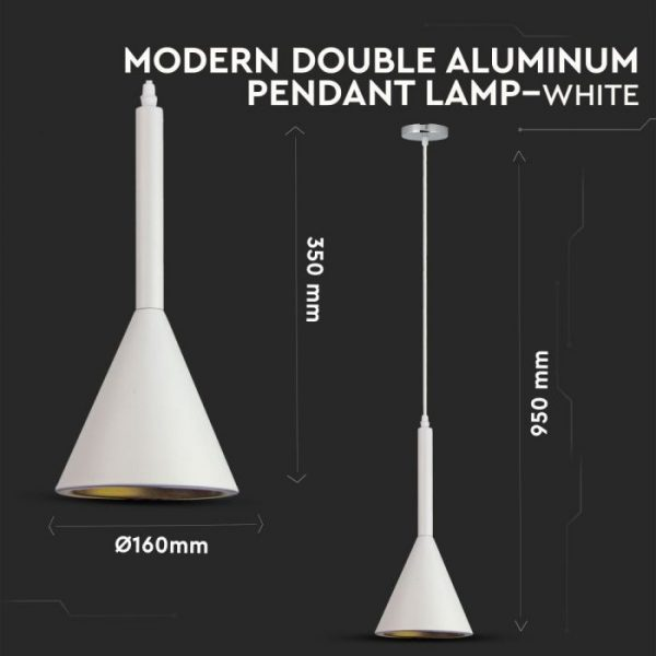 Pendant Light Modern Double Aluminium White D=160mm