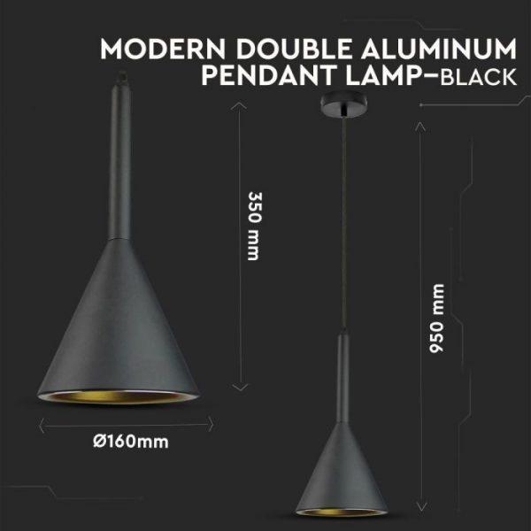 Pendant Light Modern Double Aluminium Black D=160mm