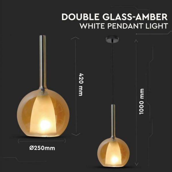 Pendant Light Double Glass Amber White D=300mm