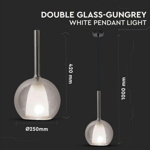 Pendant Light Double Glass GunGrey White D=300mm
