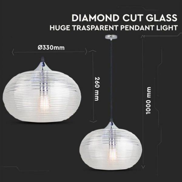 Pendant Light Diamond Cut Glass Transparent  D=350mm
