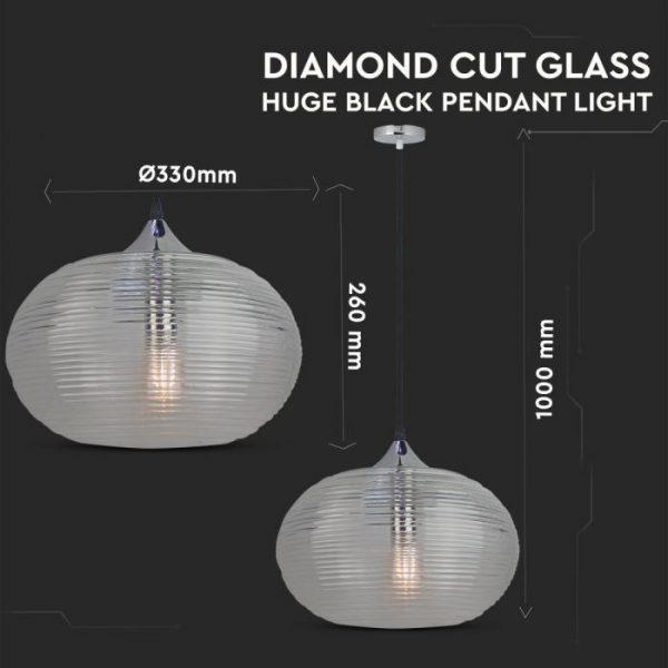 Pendant Light Diamond Cut  Black Glass Transparent  D=350mm