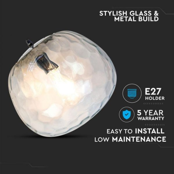 Pendant Designer Light Glass Round - Bulb Down D=250mm
