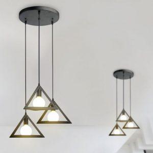 Trio Geometric Black Pendant Light 180 mm With Black Canopy