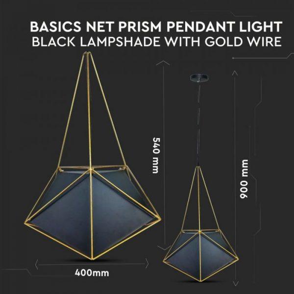 Pendant Light Basics Net Prism Lampshade 400*540mm Black & Gold