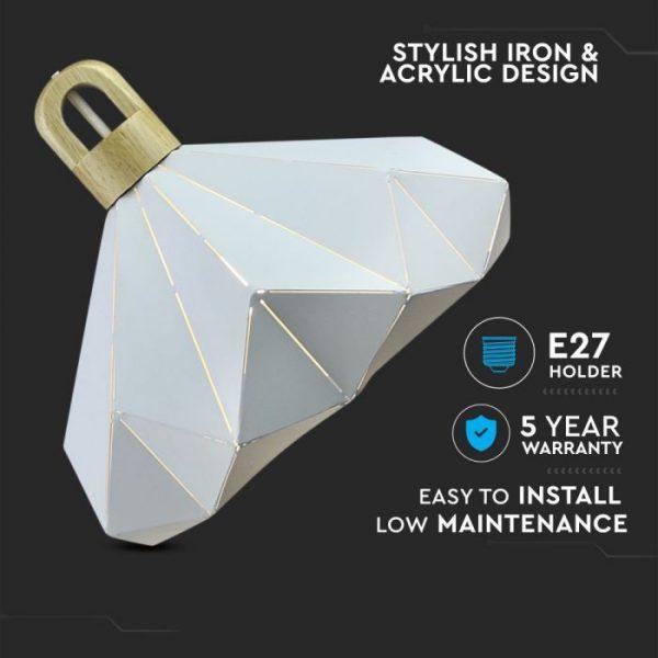 Pendant Light Pastel Wooden Prism White D=320*270mm