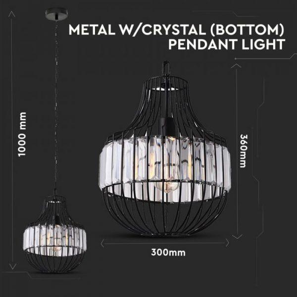 Pendant Light Metal W/Crystel Bottom D=300*360mm