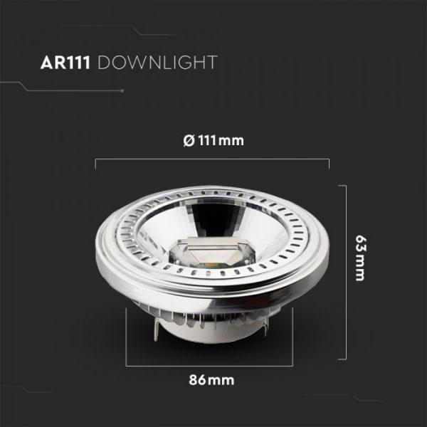15W AR111 PAR Bulb Recessed 20 degree Beam G53 12V