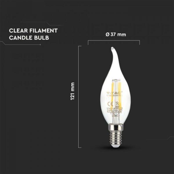LED Bulb 4W Candle Flame - E14 Clear Glass 2700K (warm white)