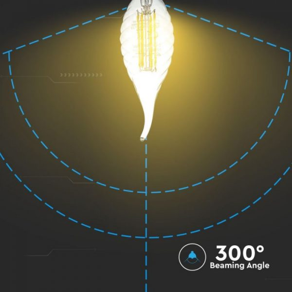 LED Bulb 4W Candle Flame - E14 Clear Glass 6000K (white)