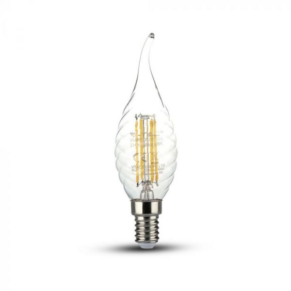 LED Bulb 4W Candle Flame - E14 Clear Glass with Twist 2700K (warm white)