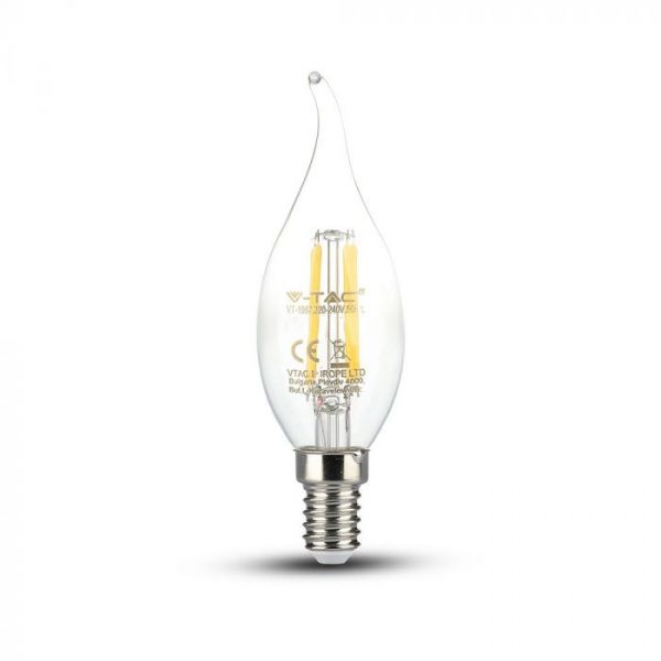 LED Bulb 4W Dimmable Candle Flame - E14 Clear Glass 2700K (warm white)