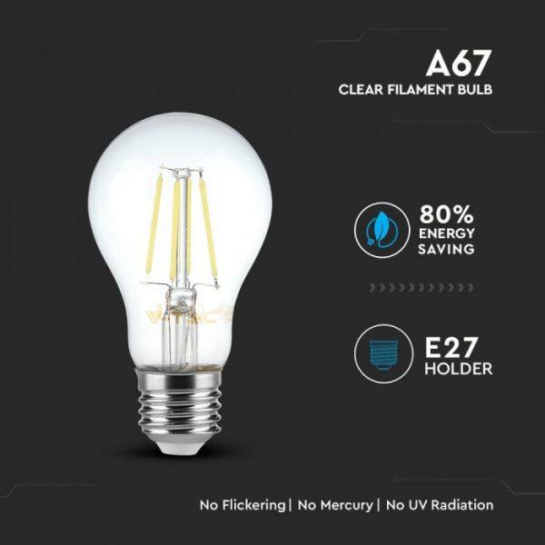 8W LED Bulb A67 - E27 Clear Glass
