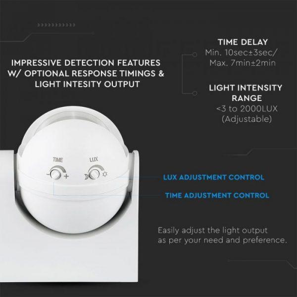 PIR Motion Sensor Wall White 180 deg. Outdoor