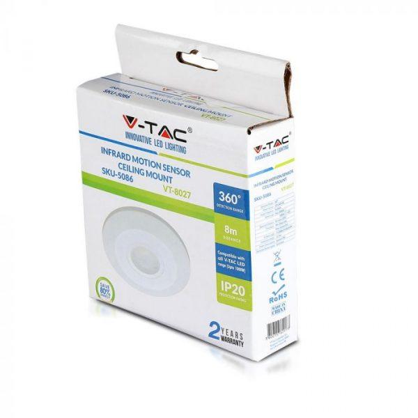 PIR Ceiling Sensor Flat White 360 deg.