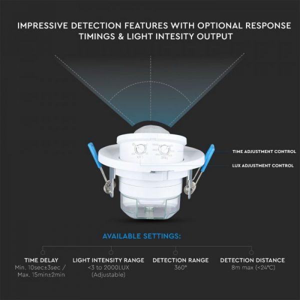 PIR Ceiling Sensor With Moving Head White 360degree