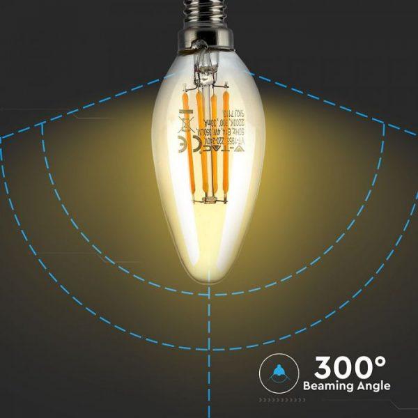 LED Bulb 4W Candle Filament -E-14 Amber Cover 2200K (warm white)
