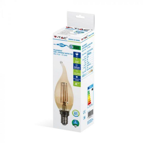 LED Bulb 4W Candle Flame Filament -E-14 Amber Cover 2200K (warm white)