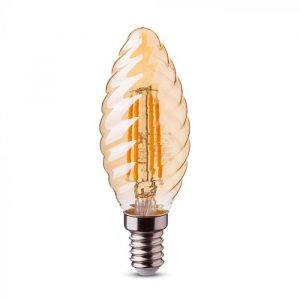 LED Bulb 4W Candle Filament with Twist -E-14 Amber Cover 2200K (warm white)