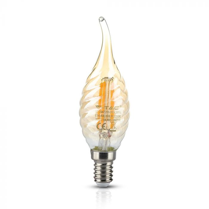 LED Bulb 4W Flame Candle Filament with Twist -E-14 Amber Cover 2200K (warm white)