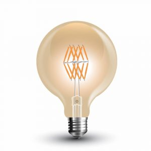 LED Bulb 8W 16 Filament G-95 Amber Cover 2200K (warm white)