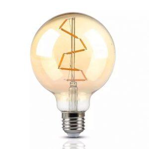4W G125 LED Bulb Amber S-Shape Filament 2200K